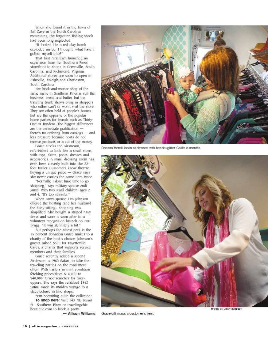 shopping feature article in Elite Magazine